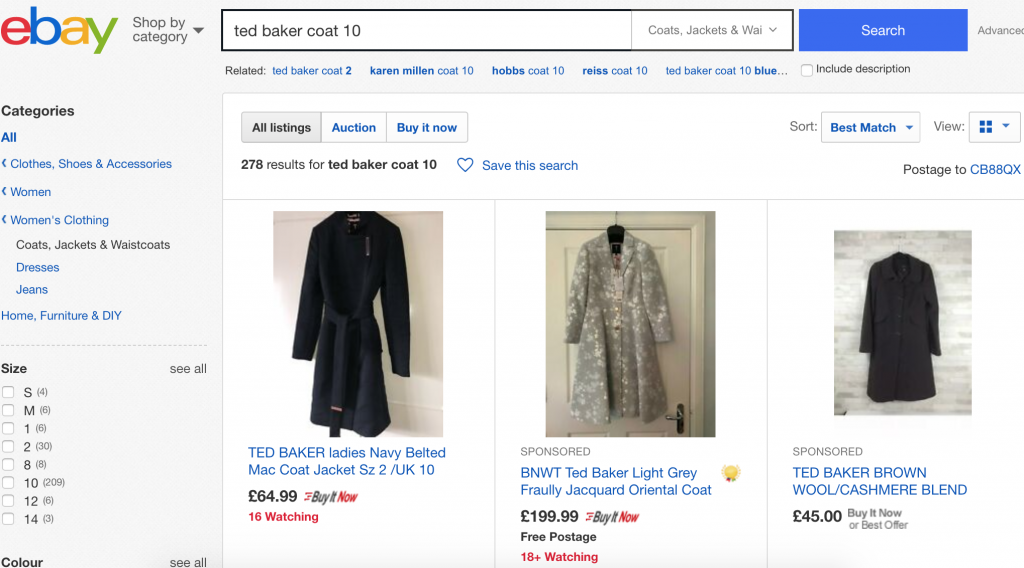 Reselling - using advanced eBay sold feature